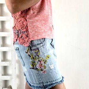 So denim fringe hem skirt boho floral embroidered